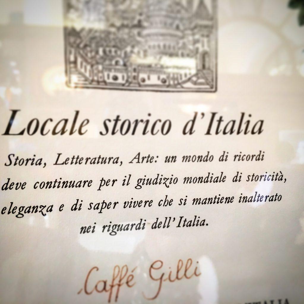 Mangiare a manovella, Caffè Gilli, Firenze, Locali storici